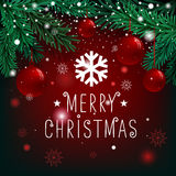 Merry Christmas lettering on background with fir branches and balls. Merry Christmas lettering on background with fir branches and balls Royalty Free Stock Image