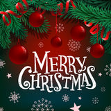 Merry Christmas lettering on background with fir branches and balls. Merry Christmas lettering on background with fir branches and balls Royalty Free Stock Photography
