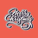 Merry Christmas Lettering Badge. Merry Christmas ettering, xmas badge with handwritten calligraphy for logo, banners, labels, postcards, posters, prints and web Stock Photography