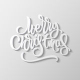 Merry Christmas Lettering Badge. Merry Christmas, XMAS brushpen lettering, handwritten calligraphy with block blended shade and realistic shadow for logo Royalty Free Stock Photos