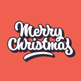 Merry Christmas Lettering Badge. Merry Christmas, xmas badge with handwritten lettering, calligraphy with outline, block blended shade and red background for Royalty Free Stock Image