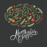 Merry Christmas Lettering on a black background Royalty Free Stock Photo