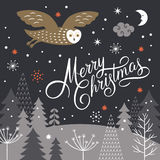 Merry Christmas Lettering on a black background Royalty Free Stock Photography