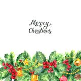Christmas border and lettering isolated on white background. Merry Christmas lettering and border with Mistletoe, cones, balls and Fir Sprigs with berries. Xmas Royalty Free Stock Photography