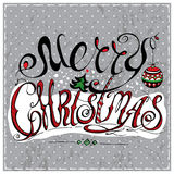 Merry Christmas lettering. Calligraphic Merry Christmas lettering. Vector illustration. Merry Christmas retro postcard. Quote  on background Stock Photo