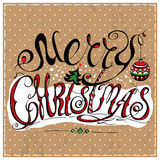Merry Christmas lettering. Calligraphic Merry Christmas lettering. Vector illustration. Merry Christmas retro postcard. Quote isolated on background Royalty Free Illustration