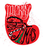 Merry Christmas lettering. Calligraphic Merry Christmas lettering. Vector illustration. Merry Christmas retro postcard. Quote isolated on the silhouette of a Vector Illustration