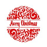 Merry Christmas lettering calligraphy with ornaments, illustrati Royalty Free Stock Photo