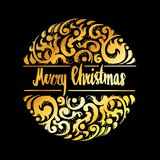 Merry Christmas lettering calligraphy with ornaments, illustrati Royalty Free Stock Photography
