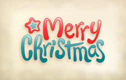 Merry Christmas lettering calligraphy, stamp imprint Stock Photography