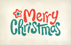 Merry Christmas lettering calligraphy, stamp imprint Stock Image