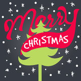 Merry christmas lettering card hipster Royalty Free Stock Photo