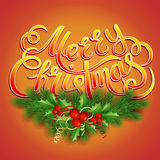 Merry Christmas lettering card with holly. Stock Images