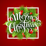 Merry Christmas lettering card with holly. Vector Royalty Free Stock Photography