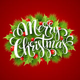 Merry Christmas lettering card with holly. Vector Stock Image