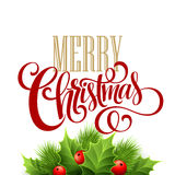 Merry Christmas lettering card with holly. Vector Royalty Free Stock Image