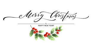 Merry Christmas lettering card with holly. Vector illustration Royalty Free Stock Photography