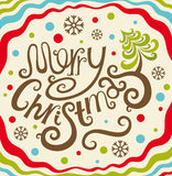 Merry Christmas lettering card Royalty Free Stock Photo