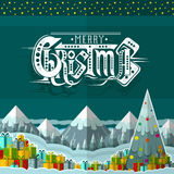 Merry christmas lettering on cartoon landscape background with present boxes and christmas tree Stock Images