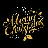 Merry Christmas lettering. With a Christmas gold decor for the holiday printing and web design, glittering stars and gold glitter Stock Images