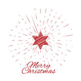 Merry Christmas lettering and Christmas Star with vintage sun burst frame Stock Photos