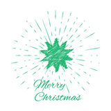 Merry Christmas lettering and Christmas Star with vintage sun burst frame Stock Photography