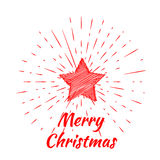 Merry Christmas lettering and Christmas Star with vintage sun burst frame Royalty Free Stock Photo