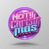 Merry Christmas lettering circle. Modern calligraphy 3D style for greeting card, poster, photo overlay. Vector illustration. Holiday greeting card design Royalty Free Stock Photography
