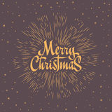 Merry Christmas Lettering Composition with burst. Holiday vector illustration Royalty Free Stock Images