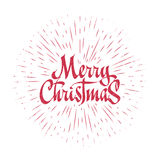 Merry Christmas Lettering Composition with burst. Holiday vector illustration Royalty Free Stock Photography
