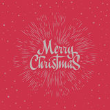 Merry Christmas Lettering Composition with burst. Holiday vector illustration Stock Image