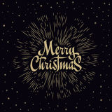 Merry Christmas Lettering Composition with burst. Holiday vector illustration Royalty Free Stock Image