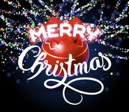 Merry Christmas lettering congratulation card Royalty Free Stock Photos
