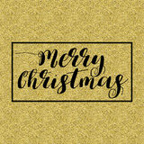Merry Christmas Lettering Design. Black text, in square frame isolated on gold background. Ideal for festive design, Christmas postcards. Vector illustration stock illustration
