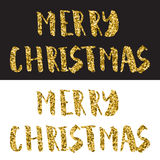 Merry Christmas Lettering Design. Gold glitter text on white and black background Stock Photo