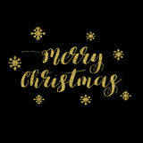 Merry Christmas Lettering Design. Golden glitter effect, isolated on black background. Ideal for festive design, Christmas postcards. Vector illustration vector illustration