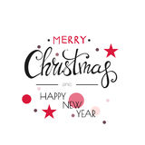 Merry Christmas Lettering Design . Happy New Year. Black and gold colors.  series Royalty Free Stock Photos