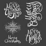 Merry Christmas lettering design set. Calligraphy handwriting design element for greeting card, banner, invitation, label, postcard, vignette and flyer. Vector stock illustration