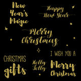 Merry Christmas Lettering Design Set. Golden glitter effect, isolated on black background. Ideal for festive design, Christmas postcards. Vector illustration stock illustration