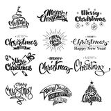 Merry Christmas Lettering Design Set. Vector Illustration Stock Images