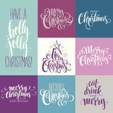 Merry Christmas Lettering Design Set. Vector Stock Photos