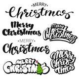 Merry Christmas Lettering Design Set. Vector illustration royalty free illustration