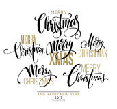 Merry Christmas Lettering Design Set. Vector illustration Royalty Free Stock Photo