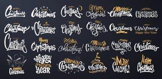 Merry Christmas Lettering Design Set. Vector illustration vector illustration