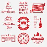 Merry Christmas Lettering Design Set of Vector labels, emblems and elements. Merry Christmas Lettering Design. Collection of Vector labels, emblems and elements Stock Photos