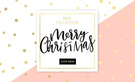 Merry Christmas lettering design with shining gold glittering snowflakes Stock Images
