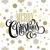 Merry Christmas  lettering design. Vector. Merry Christmas gold glittering lettering design. Vector illustration EPS10 Stock Photos