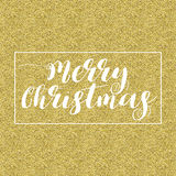Merry Christmas Lettering Design. White text, in square frame isolated on gold background. Ideal for festive design, Christmas postcards. Vector illustration royalty free illustration