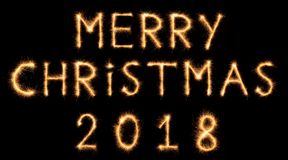 MERRY CHRISTMAS 2018 lettering drawn with bengali sparkles royalty free stock photo