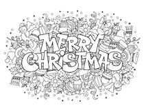 Merry Christmas. Lettering on festive doodle background with elements of winter holidays Stock Photography